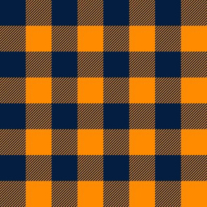 navy and orange - buffalo plaid - the great outdoors - C19BS
