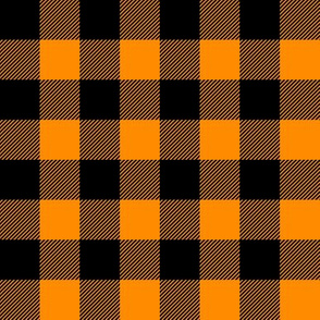 orange and black - buffalo plaid -LAD19