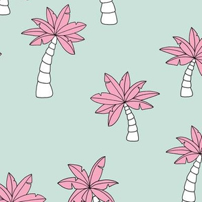 Little surf summer trip palm tree designs mint green pink girls
