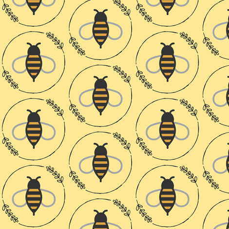 Bees on Yellow fabric by sunshineandspoons on Spoonflower - custom fabric