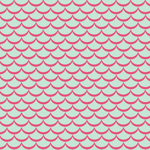 Waves Pink on Mint
