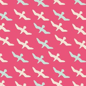 Sea Birds on Rose Pink