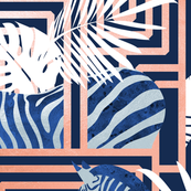 Zebra exotic stripes // navy blue background coral rose metal lines blue zebras, white tropical leaves