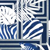 Zebra exotic stripes // navy blue background silver lines blue zebras, white tropical leaves