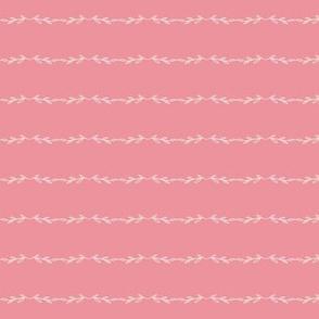 Leafy Lines | Alabaster on Pink