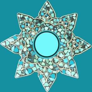 Native American Turquoise Star onTeal T