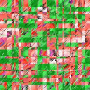 BYF1 -  Large - Scattered Contemporary Plaid in Coral and Green