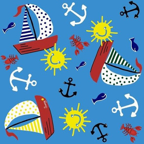 Sunny Sails / Nautical colors - Blue,yellow,red,green,white & red  med.