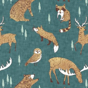 Wildlife Pines (teal) MED