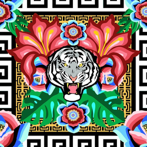 White Tiger, Bright Jungle w/ Gold Chain