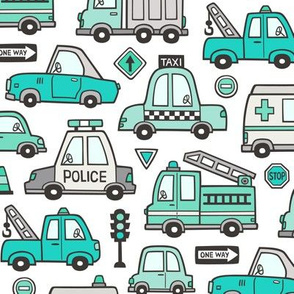 Mint Green Cars Vehicles Doodle fabric on White