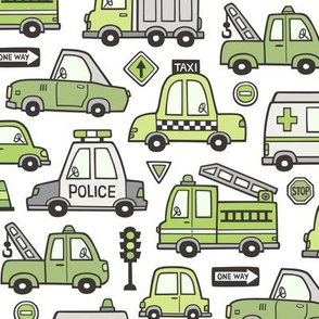 Green Cars Vehicles Doodle fabric on White
