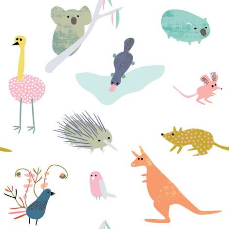 Australian Animals nursery by Mount Vic and Me fabric by mountvicandme on Spoonflower - custom fabric