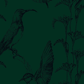 Charcoal on plain Emerald Green Large scale birds and wildflowers Half Drop  repeat