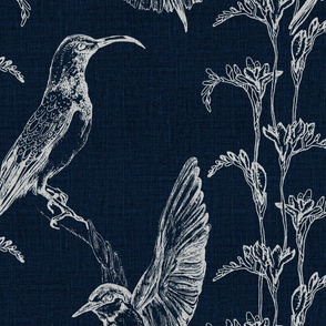Bone on Blue Large scale birds and wildflowers Half Drop  repeat