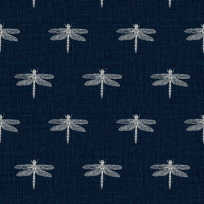 Bone Dragonflies on Woven Blue
