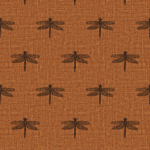 Charcoal Dragonflies on Woven Copper