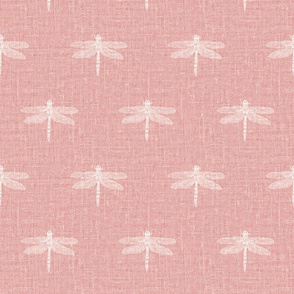 Bone Dragonflies on Woven Pink