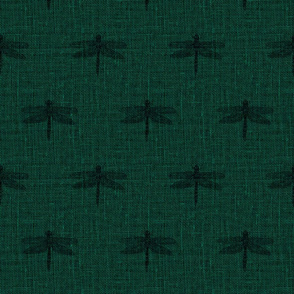 Charcoal Dragonflies on Woven Emerald Green