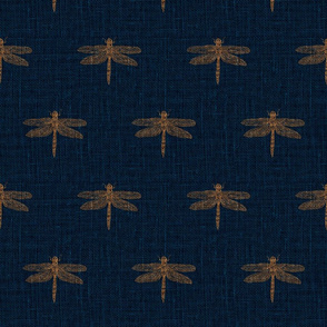 Copper Dragonflies on Woven Blue