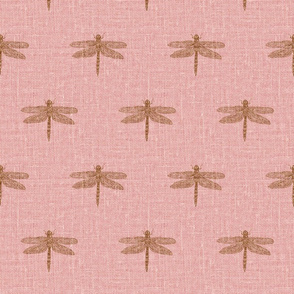 Copper Dragonflies on Woven Pink