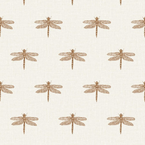 Copper Dragonflies on Woven Bone White