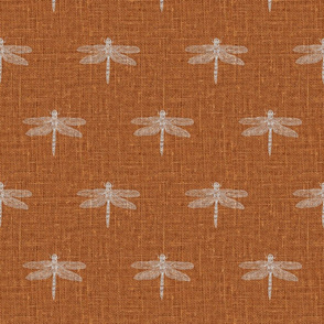 Light Gray Dragonflies on Woven Copper