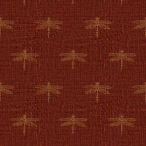 Copper Dragonflies on Woven Red
