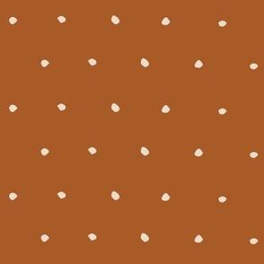 White on Plain Copper Organic Polka Dots Spots