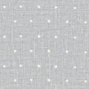 White on Woven Grey Organic Polka Dots Spots