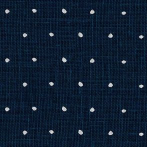White on Woven Blue Organic Polka Dots Spots
