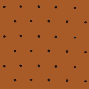 Black on Plain Copper Organic Polka Dots Spots