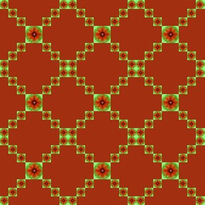 BYF5 - Small - Bull's Eye Floral Trellis in Burnt Orange and Pastel Seafoam Green