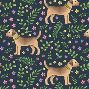 Border Terriers Spring Floral on navy