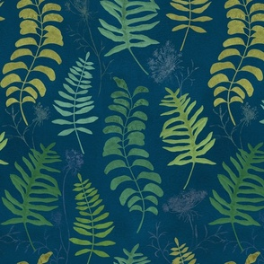 Ferns on blue