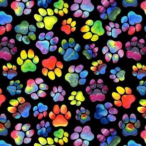 Rainbow Watercolor Pawprints
