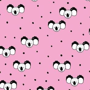 Minimal style koala bear design Australian and asian summer jungle animals pink girls