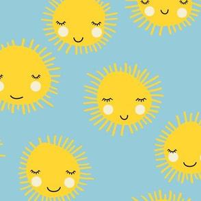 Sweet sunny kawaii sky smiling sleepy sun in yellow and blue