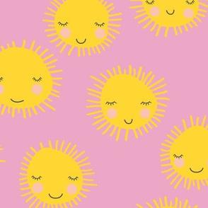 Sweet sunny kawaii sky smiling sleepy sun in pink and yellow