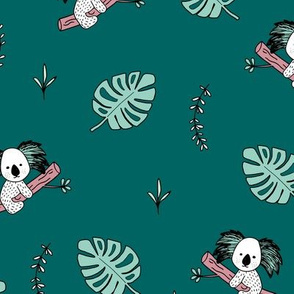 Australian animals sweet koala friends and tropical monstera leaves kids design teal pink