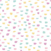Soft blue pink yellow purple taupe pastel painted dots on white