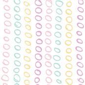 Soft blue pink yellow purple taupe pastel colored circles on white