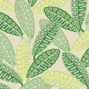 Hawaiian Tropical Calathea Leaves Yellow Green