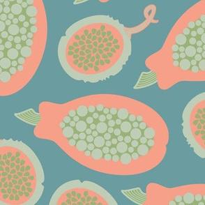 Hawaiian Tropical Fruit Papaya Lilikoi Passionfruit Pink Blue Green