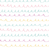 Soft pink blue yellow purple taupe scribble waves pastel colored on white