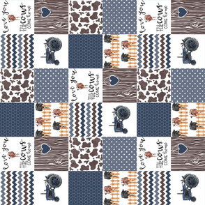 3 inch Farm//Love you till the cows come home//Hereford&Angus - Wholecloth Cheater Quilt - Rotated