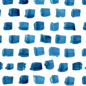 Watercolor navy blue boho strokes indigo abstract spots