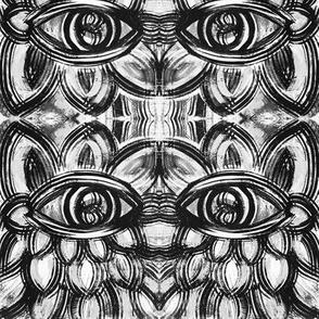 Black and White linear Eye Flower Design