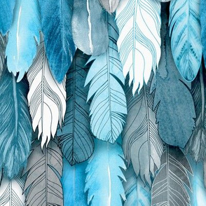 Owl Feathers Blue