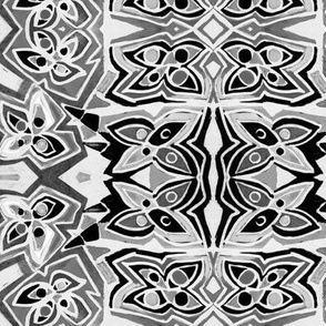 grayscale abstract geometric flower